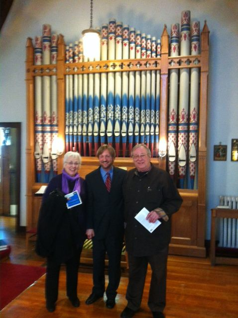 Recitalist Douglas Cleveland with organ builder Walter Bradford and Marge Bradford at the Sunday, May 21 concert.