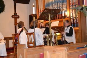 Scripture and stories from St. John's history were interspersed with carols, anthems, and a recorder ensemble.