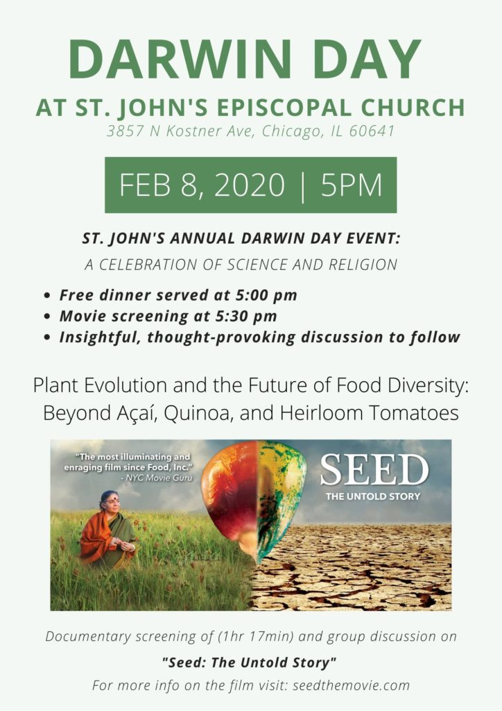 "A celebration of science and religion is Feb 8 at 5 pm for dinner, movie screening of ""Seed: The Untold Story"" and discussion."